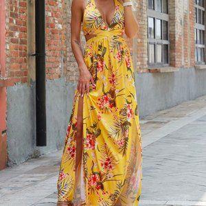 SHEIN Joyfunear Plunging Neck Floral Maxi Dress